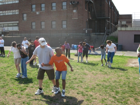Bigs and Littles in a 3-legged race (March 2011)